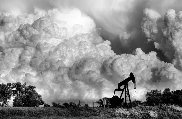 Oil Rig Art Print featuring the photograph Field Of Nightmares by Karen Scovill