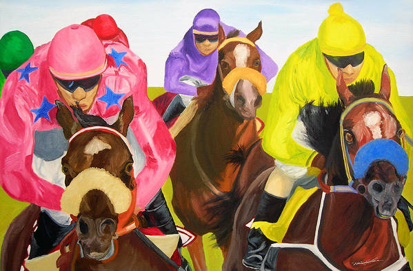 Horse Racing Art Print featuring the painting Finish Line by Michael Lee