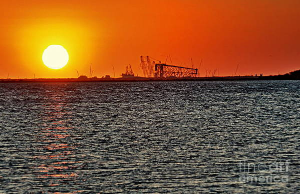 Sunset Art Print featuring the photograph Fire On The Water by Ken Williams