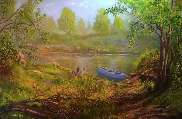 Boat Art Print featuring the painting First Date by Michael Mrozik