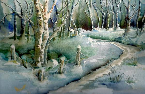 Nature Art Print featuring the painting First Snow by KC Winters