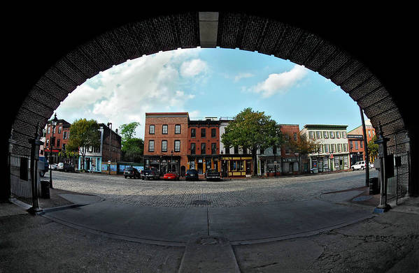Homicide Art Print featuring the photograph Fisheye Shops by Murray Bloom