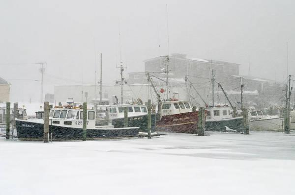 Winter Art Print featuring the photograph Fishing Boats During Winter Storm Sandwich Cape Cod by Matt Suess