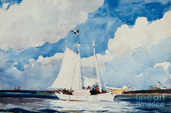 Boat Art Print featuring the painting Fishing Schooner In Nassau by Winslow Homer