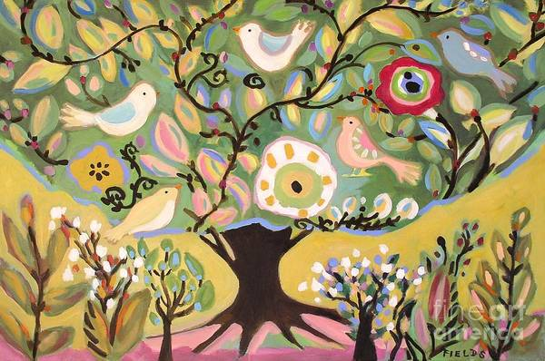 Cottage Art Print featuring the painting Five Birds In Garden Tree by Karen Fields