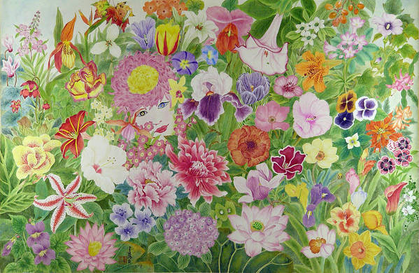 Flowers Art Print featuring the painting Flowers by Ying Wong