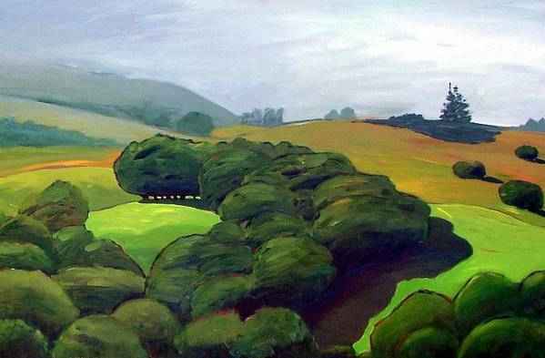 Fog. Trees. Landscape. Art Print featuring the painting Fog Comes In by Gary Coleman
