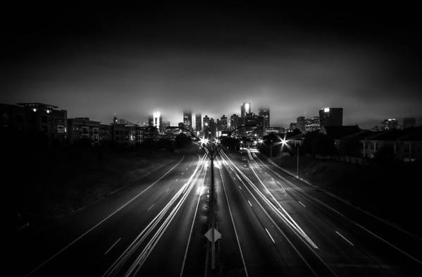 Black And White Art Print featuring the photograph Foggy Cityscape by Zachary Bale