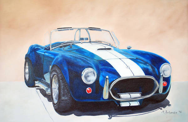 Car Art Print featuring the painting Ford Cobra In Oil by Margaret Fortunato