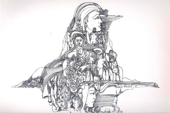 Surreal Art Print featuring the drawing Forms In The Head by Padamvir Singh