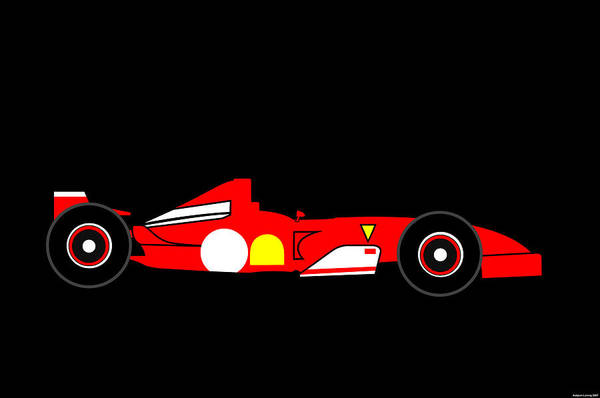 Ferrari Art Print featuring the digital art Formula One Ferrari by Asbjorn Lonvig