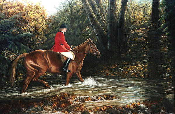 Horse Art Print featuring the painting Fox Hunt by Grace Nikander