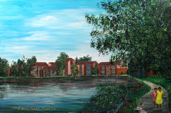 Beverly Kimble Davis Art Print featuring the painting Frenchmans Wharf Stroll by Beverly Kimble Davis