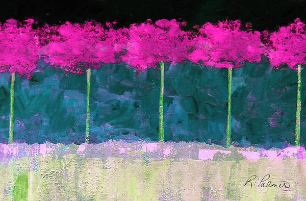 Abstract Art Print featuring the painting Fuschia Trees by Ruth Palmer