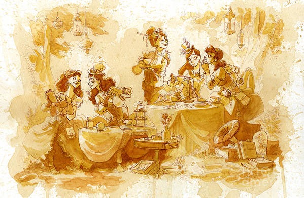 Steampunk Art Print featuring the painting Garden Party by Brian Kesinger