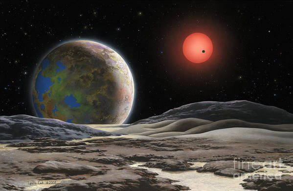 Lynette Cook Print featuring the painting Gliese 581 C by Lynette Cook