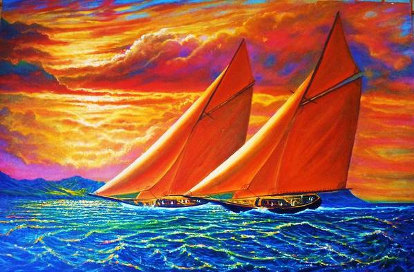Seascape Art Print featuring the painting Golden Sails by Joseph  Ruff