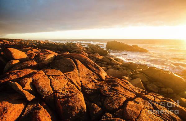 Sunset Art Print featuring the photograph Golden Sunset Coast by Jorgo Photography - Wall Art Gallery