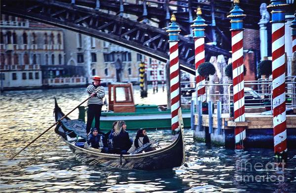 Venice Art Print featuring the photograph Gondola In Venice On Grand Canal by Michael Henderson