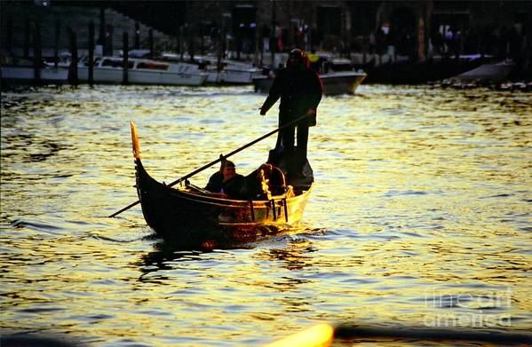Venice Art Print featuring the photograph Gondola Ride At Sunset In Venice by Michael Henderson