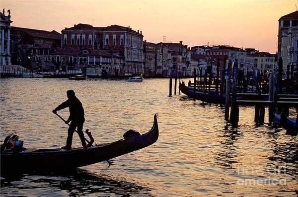 Venice Art Print featuring the photograph Gondolier In Venice In Silhouette by Michael Henderson