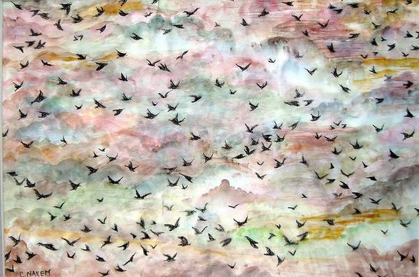 Birds Art Print featuring the painting Great Flock In Flight by Caroline Urbania Naeem