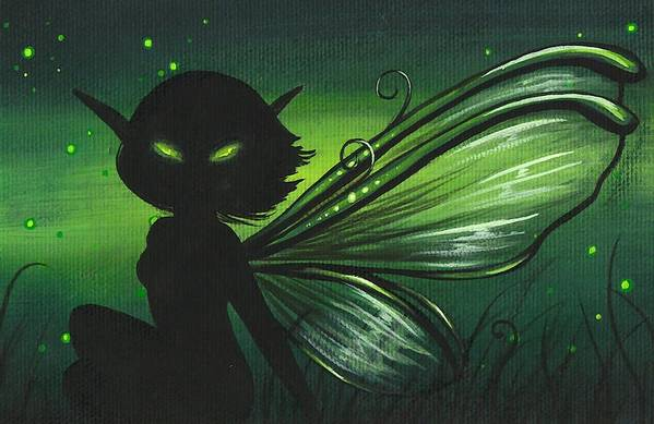 Fantasy Fairy Art Print featuring the painting Green Glow by Elaina Wagner