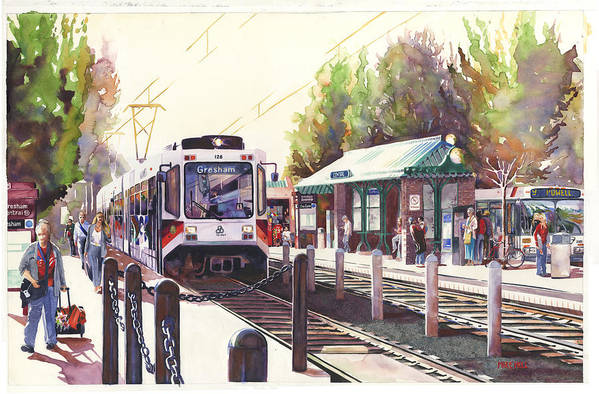 Light Rail Street Car Station Train Passenger Bus Rails Transportation Commute Home Work Evening Art Print featuring the painting Gresham Station by Mike Hill