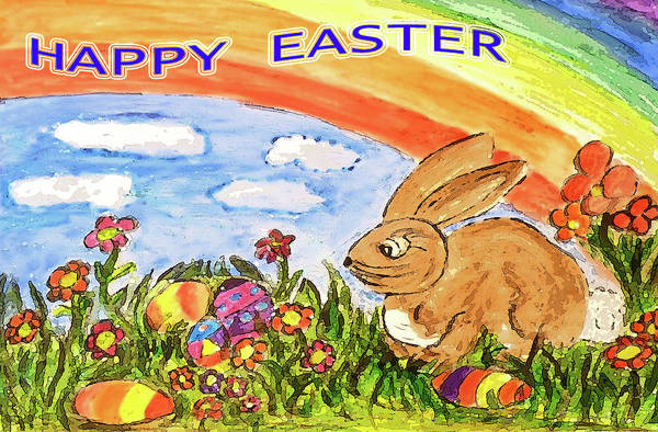 Easter Art Print featuring the painting Happy Easter by Monica Engeler