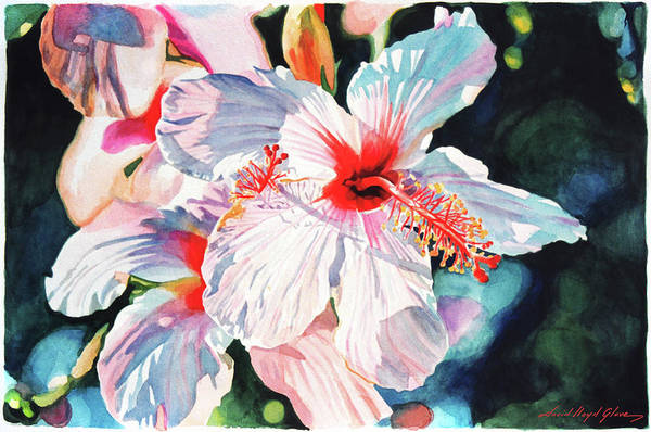 Hibiscus Art Print featuring the painting Hawaiian Hibiscus by David Lloyd Glover