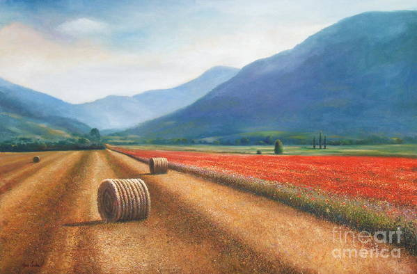 Poppies Art Print featuring the painting Haybales In Italy by Ann Cockerill