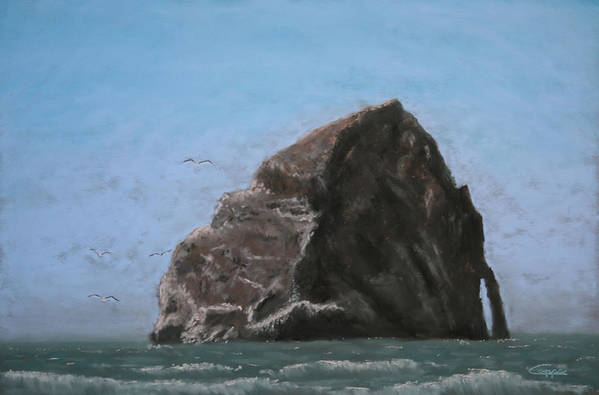 Seascape Art Print featuring the painting Haystack Rock by Carl Capps