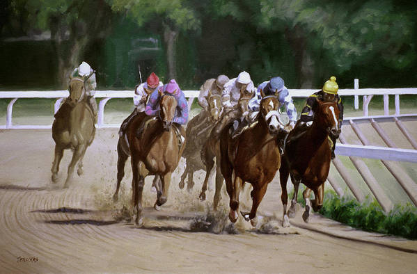Horse Art Print featuring the painting Heading For Home by Linda Tenukas