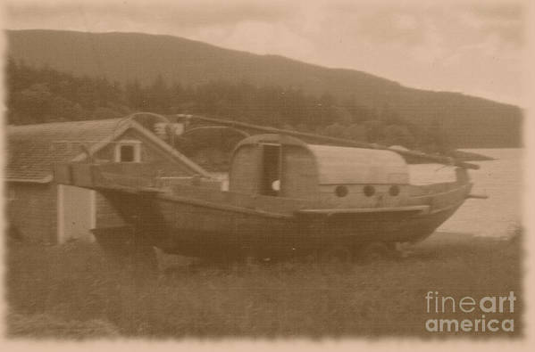 Boats Art Print featuring the photograph High And Dry In Sepia by Charles Robinson