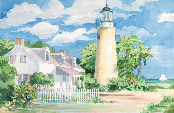 Lighthouse Art Print featuring the painting Historic Key West Lighthouse by Paul Brent