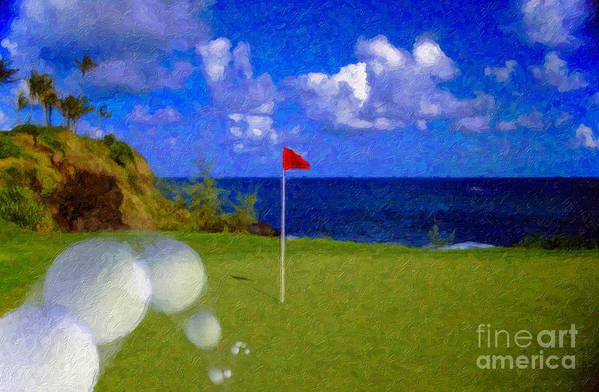 Hole In One 18th Green Ball Flag Green Ocean Palm Trees Art Print featuring the photograph Fantastic 18th Green by David Zanzinger