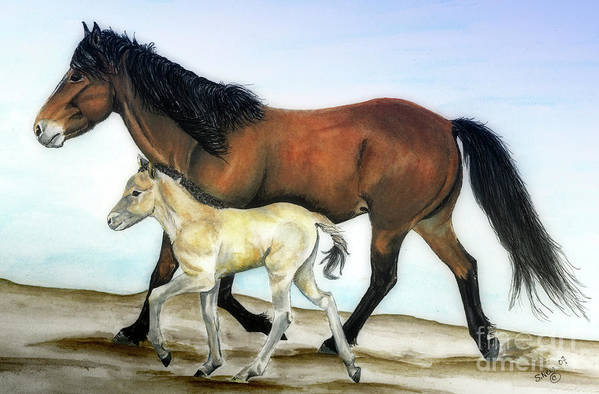 Icelandic Horse Art Print featuring the painting Icelandic Mare And Foal by Shari Nees