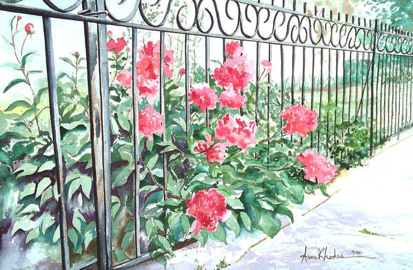 Landscape Art Print featuring the painting Imprisoned Peonies by Anne Rhodes