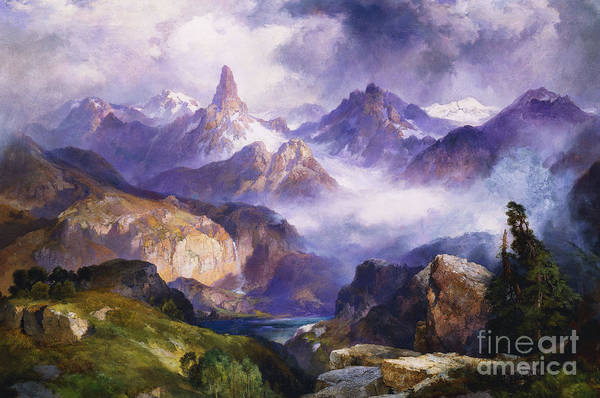 American Artist; American Painting; Cloud; Cloudy; Day; Drama; Dramatic; Ecosystem; Forest; Hudson River School; Idyllic;isolation; Lake; Meteorology; Mountains; Mountain Range; Mountaintop; National Park; Nature; Natural Phenomena;oil Painting; Outdoors; Picturesque; Positive Concepts; Remote; Rock; Romantic Art; Romantic Era; Romanticism; Scene; Scenery; Scenic; Secluded; Seclusion; Sky; Snow Capped; Snow-capped; Water; Weather; Wood; Woodland; Wyoming; Yellowstone National Park Art Print featuring the painting Index Peak Yellowstone National Park by Thomas Moran