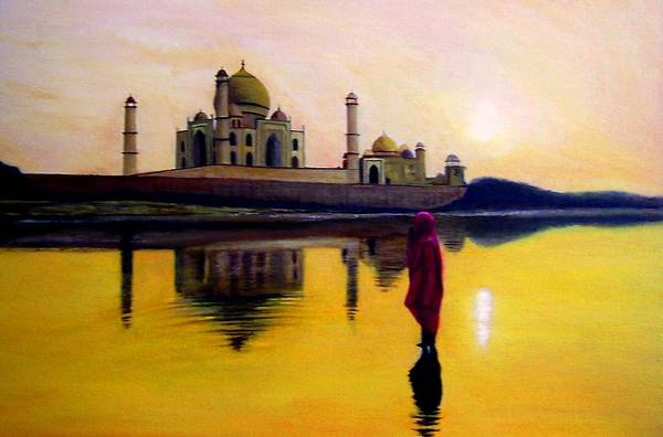 Landscape Art Print featuring the painting Indian Prayer by Zoltan Szabo