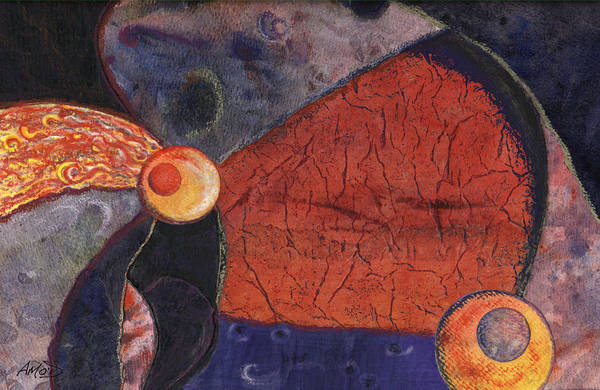 Abstract Art Print featuring the painting Interplanetary 2 by Anne Marie ODriscoll