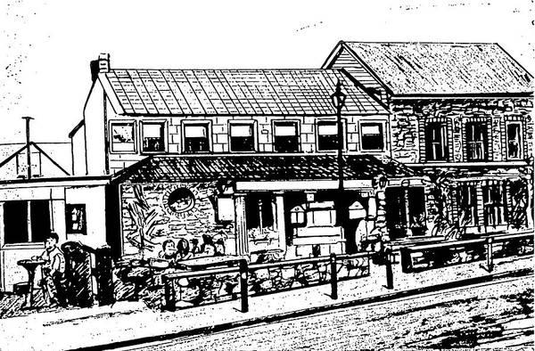 Irish Landscape Art Print featuring the drawing Irish Pub by Monica Engeler
