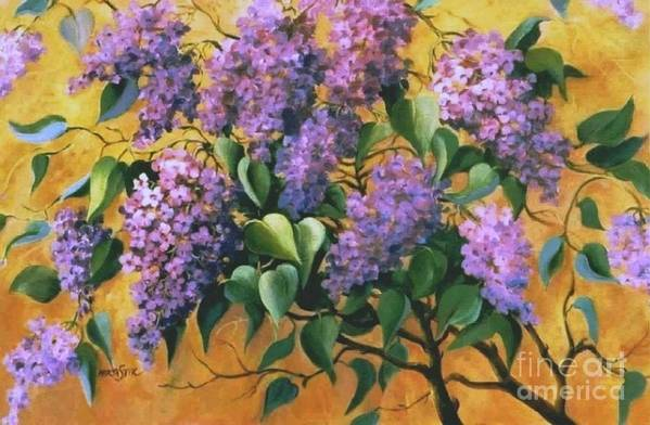 Flovers Art Print featuring the painting It Is Lilac Time 2 by Marta Styk