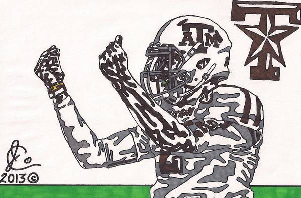 American Football Art Print featuring the drawing Johnny Manziel 10 Change The Play by Jeremiah Colley