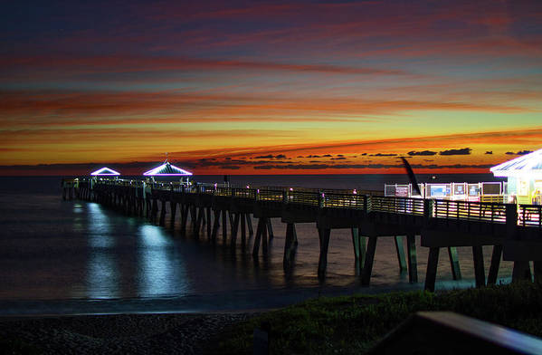 Delray Art Print featuring the photograph Juno Pier Twilight Wide by Ken Figurski