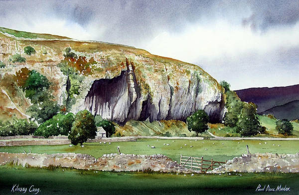 Landscape Art Print featuring the painting Kilnsey Crag by Paul Dene Marlor