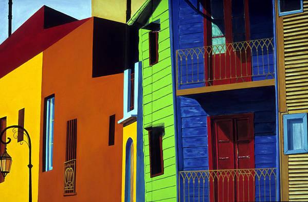 La Boca Art Print featuring the painting La Boca Street Scene One by JoeRay Kelley