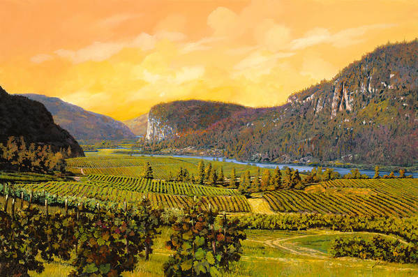 Wine Art Print featuring the painting La Vigna Sul Fiume by Guido Borelli