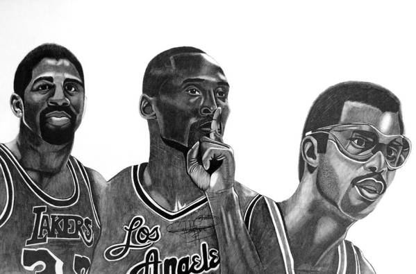 Kobe Bryant Art Print featuring the drawing Laker Greats by Keeyonardo