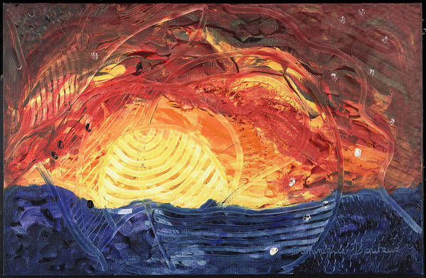 Abstract Art Print featuring the painting Lever De Soleil by Dominique Boutaud